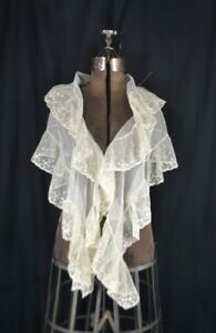 Antique Collar Fichu Bertha White Lace Shawl Embroidered Large 68 In 1800
