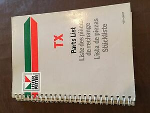 Lister Disel Engine Tx Parts List Catalog Manual