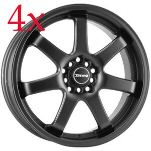 Drag Wheels Dr 35 17x7 5 4x100 4x114 Flat Black Rims For Talon Sentra Neon Prius