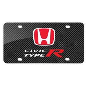 Honda Red Logo Civic Type R Carbon Fiber Look Graphic Metal License Plate