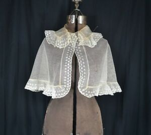 Antique Collar Fichu Bertha White Lace Shawl Embroidered Large 1800