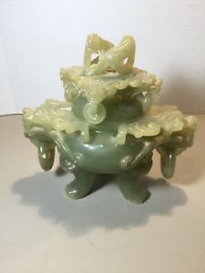 Antique Chinese Large Xiu Jade Serpentine Carved Dragons Incense Burner