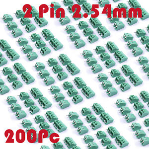 200pcs 2 Pin Pcb Screw Terminal Block Connector Panel Mount Pitch 2 54mm