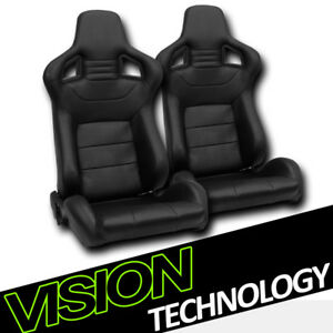 Jdm Mu Style Black Pvc Leather Reclinable Racing Bucket Seats W Sliders Pair V03