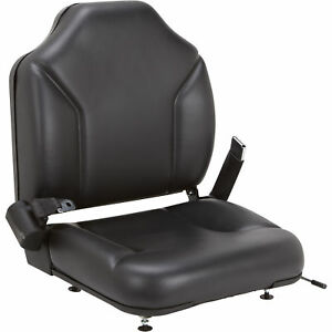 Direct fit Seat For Clark Forklifts vinyl covered Cushions Over Steel Frame Blk