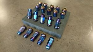 Full Titanium blue Tuner Wheel Lug Nut Conical Seat Open End 12x1 5 12mmx1 5mm
