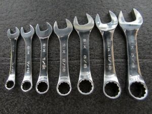 S k Tools Sae Stubby Combination Wrench Set Chrome Made In Usa