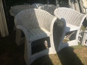Set Of 6 C1940 Bar Harbor Style Wicker High Seat Chair 41 5 H X 30 5 X 23