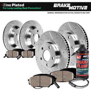 Front rear Drill Slot Brake Rotors Ceramic Pads For Bmw 535 Active Hybrid 5