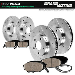 Front Rear Brake Rotors And Ceramic Pads For 2005 2006 Mercedes Benz Slk350