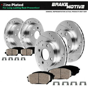 Front Rear Drilled Slotted Brake Rotors Ceramic Pads For Nissan 240sx 4lug
