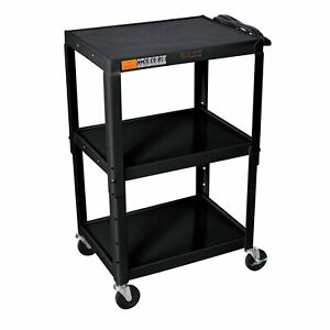Offex Av Cart With 3 Shelves 54 25 H X 32 W X 24 D