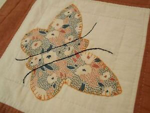 Vintage Antique 1930 Feedsack Butterfly Applique Hand Stitched Quilt 81x71
