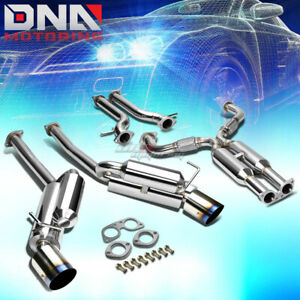 4 5 Dual Burnt Tip Stainless Steel Exhaust Catback System For 370z Fairlady Z34