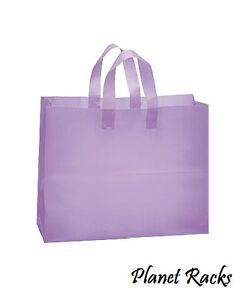 100 Planet Racks Large 16 X 6 X 12 Plastic Frosted Lavender Shopping Bags