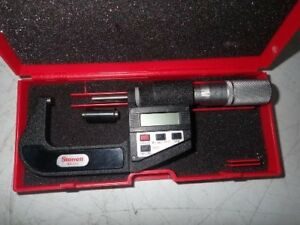 Starrett Digital Electronic Outside Micrometer 1 2 0 00005 Carbide Faces