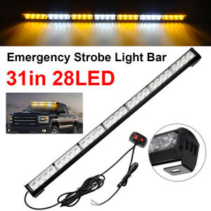 31 28 Led Emergency Strobe Light Bar Traffic Advisor Amber White