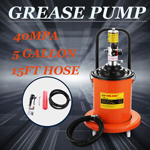 Air Operated High Pressure Grease Pump 15ft Hose Gun Rigid U Joint Containers