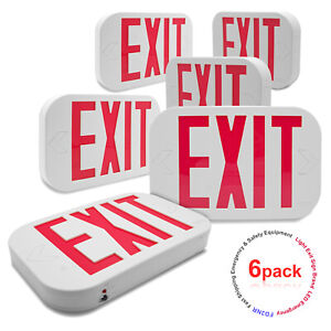 Etoplighting 6 Pack Red Letter Led Exit Emergency Sign Light W Battery Back up