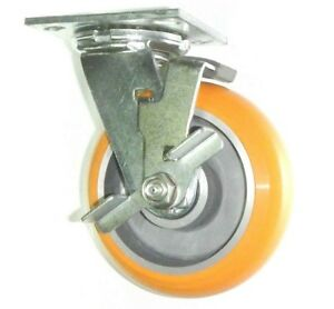 One Swivel Caster With Brake And Polyurethane On Aluminum 6 X 2 1000lbs Wheel