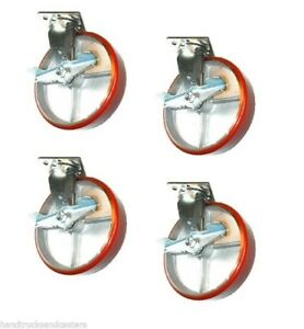 Set Of 4 Swivel Casters With 8 X 2 Poly On Steel Wheels With Side Lock Brakes