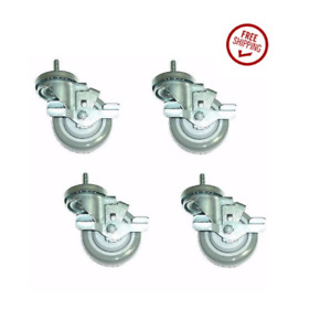 Set Of 4 Swivel Casters With 3 Polyurethane Wheels 3 8 Threaded Stems And Bra