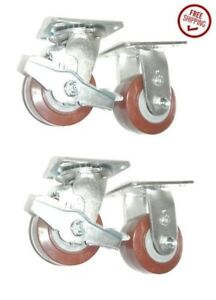 clearance 4 swivel rigid Caster Set With 4 Wheels 2 Brakes steerable