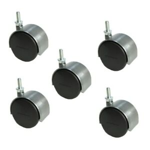 Set Of 5 Shepherd 2 Satin Chrome Twin Wheel Caster With 1 4 Threaded Stem