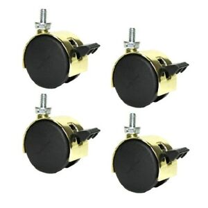 Set Of 4 Shepherd Pacer Twin Wheel 2 Caster Bright Brass Finish With5 16 18