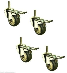 Set Of 4 Stainless Steel Swivel Stem Caster With 3 Gray Rubber Wheel And Brake