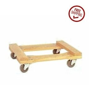 Oak Wood Open Movers Dolly 18 W X 30 L 800 Cap With Soft Gray Rubber Wheels