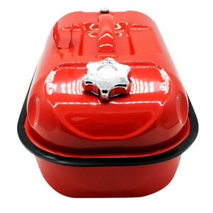 Red 10l Portable Gas Fuel Tank Can With Oil Tube For Atv Car Motorcycle