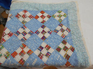 Vtg Antique Distressed Hand Stitched Quilted Lap Baby Cutter Quilt Pc 32x38