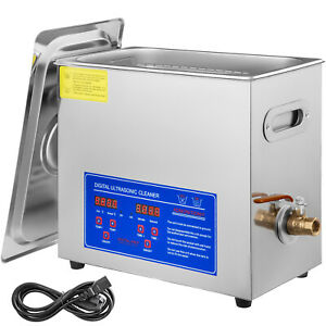 New Stainless Steel 6 Liter Industry Heated Ultrasonic Cleaner W timer