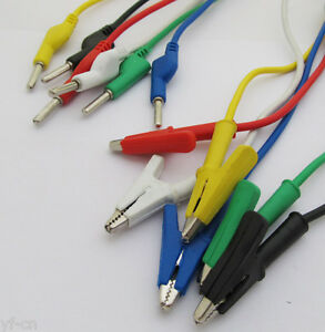 4sets 6colors 4mm Silicone High Voltage Banana Plug To Alligator Clip Test Leads