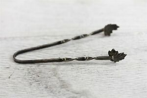 Antique Sterling Silver Leaf Sugar Ice Tongs Serving Sf21