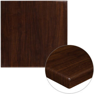 Flash Furniture 30 Square 2 Thick Resin Walnut Restaurant Banquet Table Top
