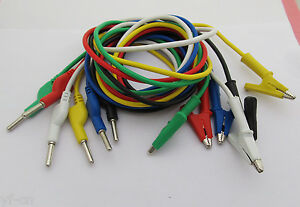 2sets Silicone High Voltage 4mm Banana Plug To Alligator Clip Test Leads 6colors