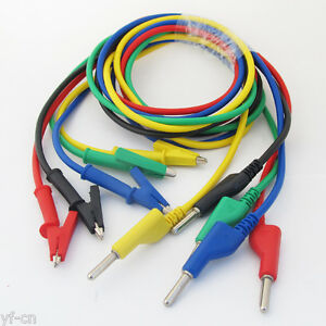 10set Silicone High Voltage 4mm Banana Plug To Alligator Clip Test Leads 5colors