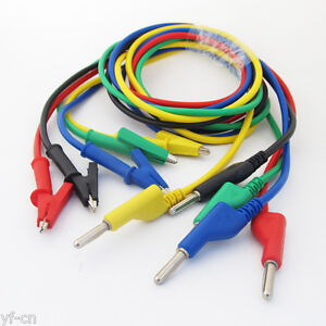 2sets 5colors 4mm Silicone High Voltage Banana Plug To Alligator Clip Test