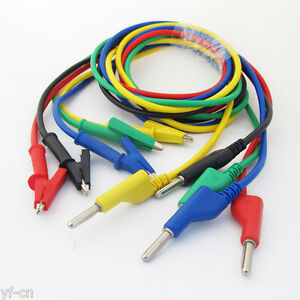 2sets 5colors 4mm Silicone High Voltage Banana Plug To Alligator Clip Test Leads