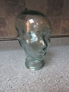Large Glass Human Head Form Mannequin For Wigs Hats Art Deco Display 11 5