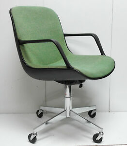 Vtg Steelcase Mid Century Modern Knoll Pollock Style Swivel Office Chair Green