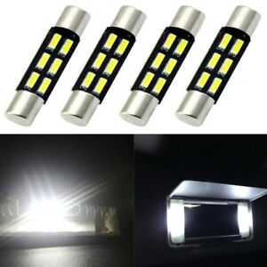 4 X Super Bright 6smd 6641 6614 Led Bulb For Sun Visor Vanity Mirror Fuse Lights