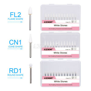 Dental White Stone Handpiece Polishing Burs Fg Cone flame Shape Aluminum Oxide