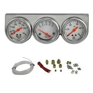 50mm Chrome Oil Pressure Water Volt Triple 3 Gauge Set Kit Car Parts Dash Panel