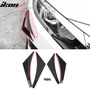 Universal Front Bumper Lip Canards Splitters Fin 4pc V2 Style Carbon Fiber
