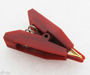 1pc Red Copper Electric Kelvin Test Clip Screw Fixed 10a 10amp Gold Tip 41mm