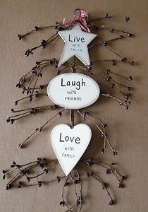 Live Laugh Love Rustic Country Plaque Pip Berry Swag Inspirational Decor Sign