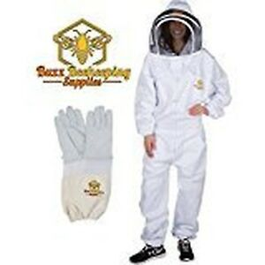Professional Beekeeping Suit And Goatskin Gloves 1 Pair Self supporting Fen